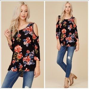 Tops - Gorgeous Floral Cold Shoulder Tunic Top